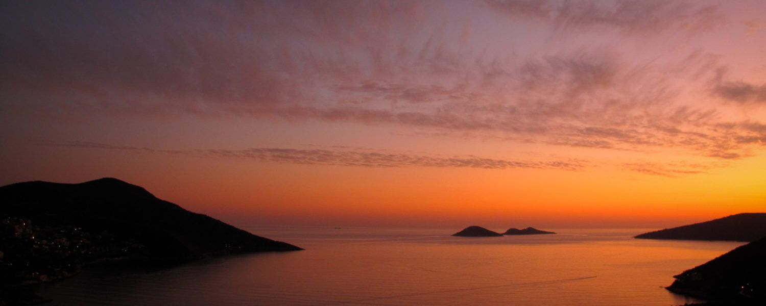Gorgeous sunset view of Kalkan Bay and harbour as seem from the apartment roof terrace. <3