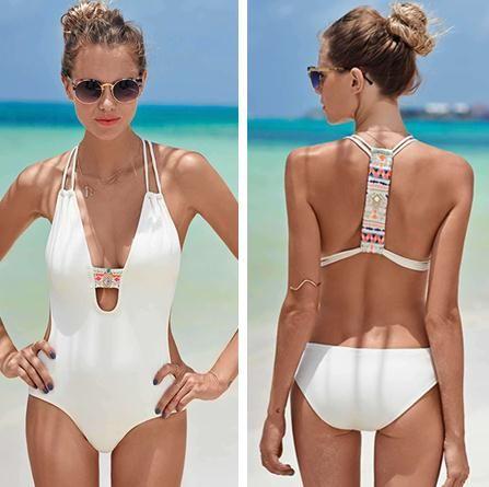 Pas cher XXL 2017 femmes de noir blanc sexy d'une seule pièce maillot de  bain sport dos nu maillots de bain push up bandage monokini taille haute  body, ...