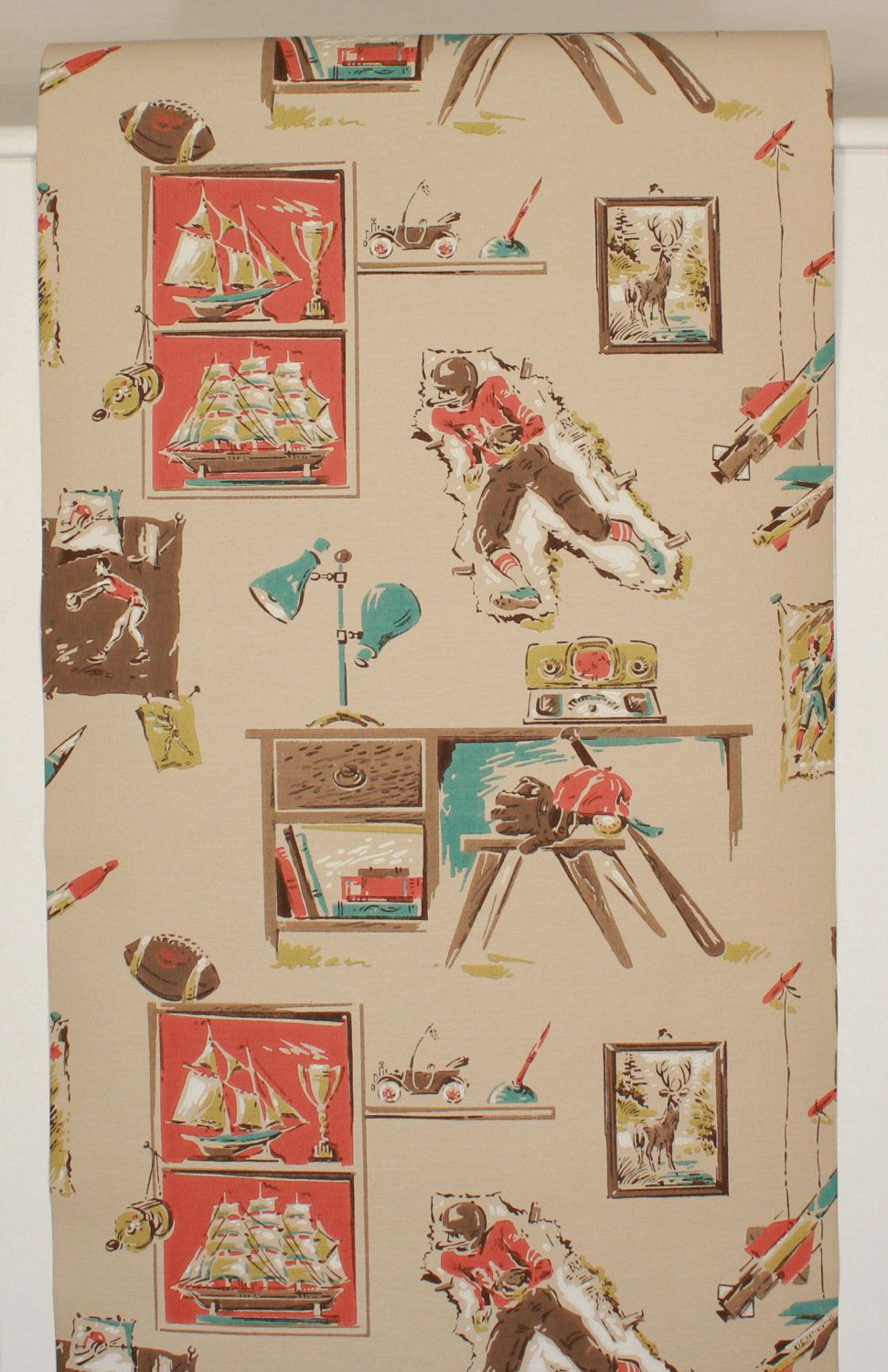 1950s Vintage Wallpaper Mid Century Boys Sports Theme