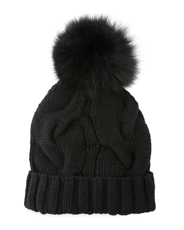 7ff85e409e6ab Cashmere Chunky Knit Beanie Hat w  Fur Pompom