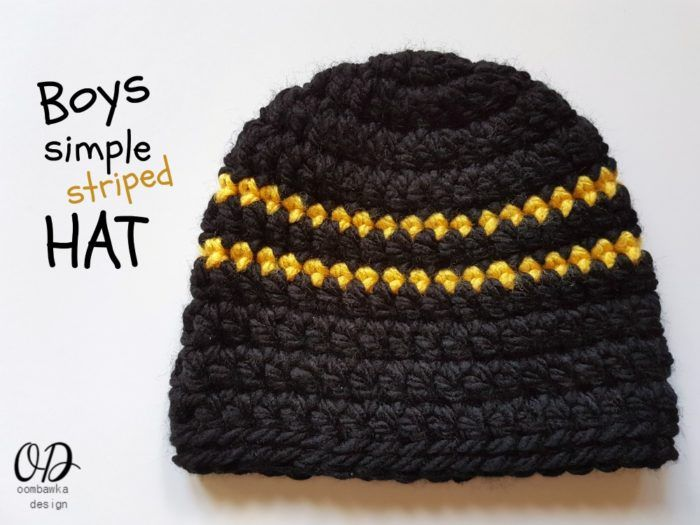 Boys Simple Striped Hat. Free Crochet Pattern available at Oombawka Design.  Sizes 12 months to Adult. Yarn  Bulky Weight Hook  8.0 mm (L) Easy to  follow ... 37ac5cb8ea1