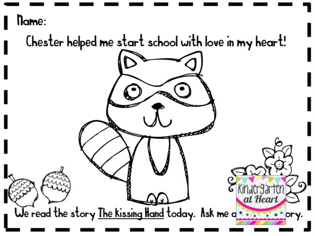 27 fresh kissing hand freebies and teaching resources chester raccoon coloring page kindergartenworks - Chester Raccoon Coloring Page