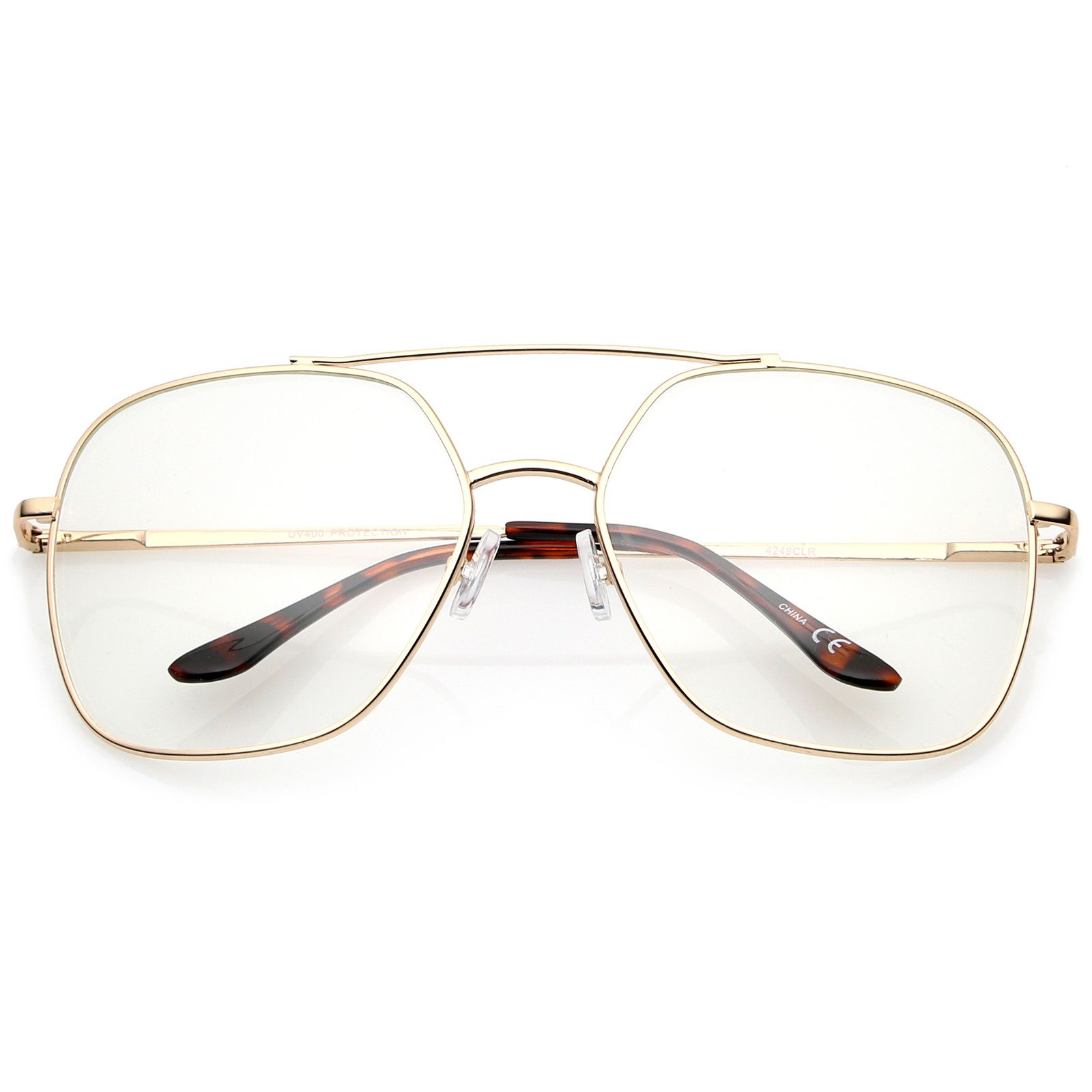 Retro Oversize Metal Frame Slim Temple Clear Lens Square Eyeglasses ...