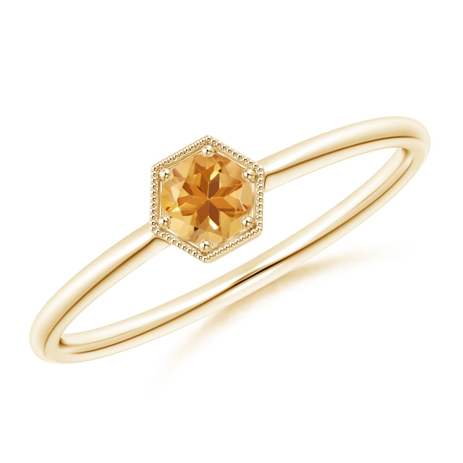 Angara Citrine and Diamond Ring in Yellow Gold