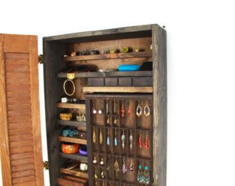 Rustic Wooden Wall Mounted Jewelry Organizer Handmade by