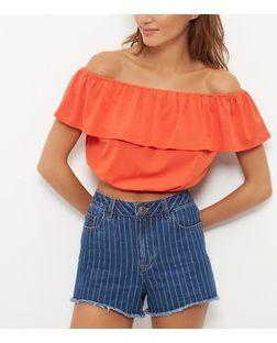 Orange Frill Bardot Neck Crop Top | New Look