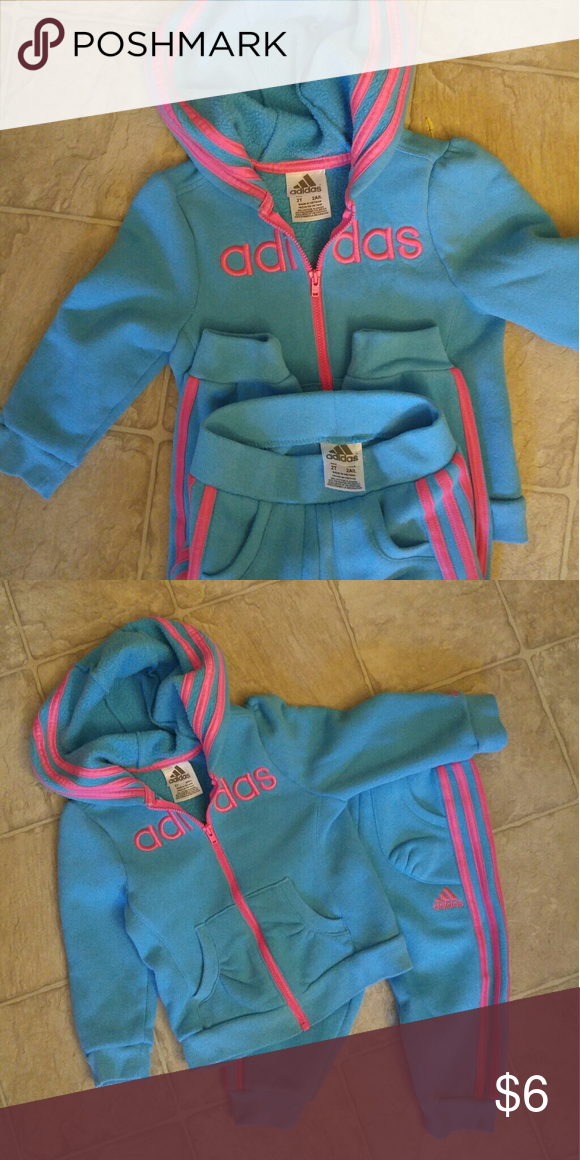 Toddler Girls Adidas Sweatsuit Bright blue and pink sweatsuit. Super cute  and well made. Size 2T. Pet free smoke free Adidas Matching Sets 837f4d1831d4