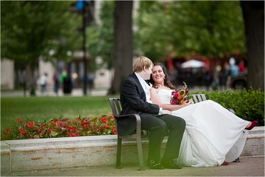 wedding portraits at capitol bench madison wi
