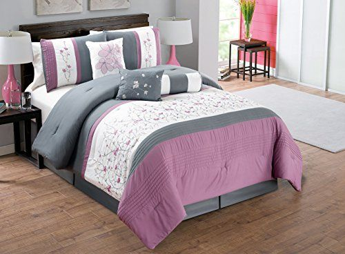 Modern 7 Piece KING Bedding Purple / Grey / White Pin Tuck Floral  Embroidered Comforter Set
