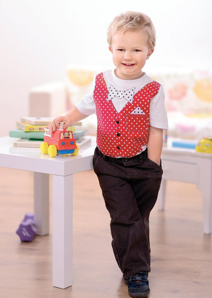 Boy's Smart Bow Tie and Waistcoat Appliqued T-shirts: