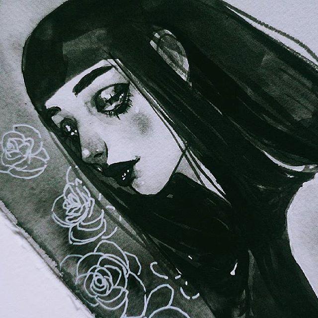 Sketch made with Chinese calligraphy ink ❤  .  .  .  .  .  .  .  .  #roses #blackandwhite #inkonpaper #ink #fudepen #ふて寝  #pentel #comic #feelings #melancholia #chineseink #drawing #inkdrawing #イラスト #illustration #art #artist #artistic #mood #likeback #likeforlike #l4l #tumblr #instaart #manga  #likesback #followme #pilot #fountainpen #sumie