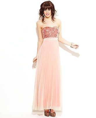 e705d01c1a228 Speechless Juniors Dress, Strapless Sequin Pleated Gown - Juniors Dresses -  Macy's