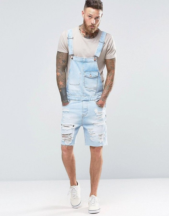 ac3b74fc40a2 ASOS Short Overalls In Bleach Wash With Rips | Men's Fashion ...