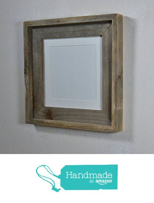 8x8 grey recycled wood photo frame with white mat for 5x5 or 6x6 from barnwood4u http