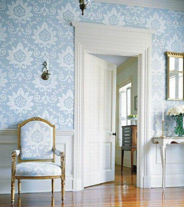 barock tapete flur wandgestaltung hallblau Barock Tapeten - wandgestaltung gothic