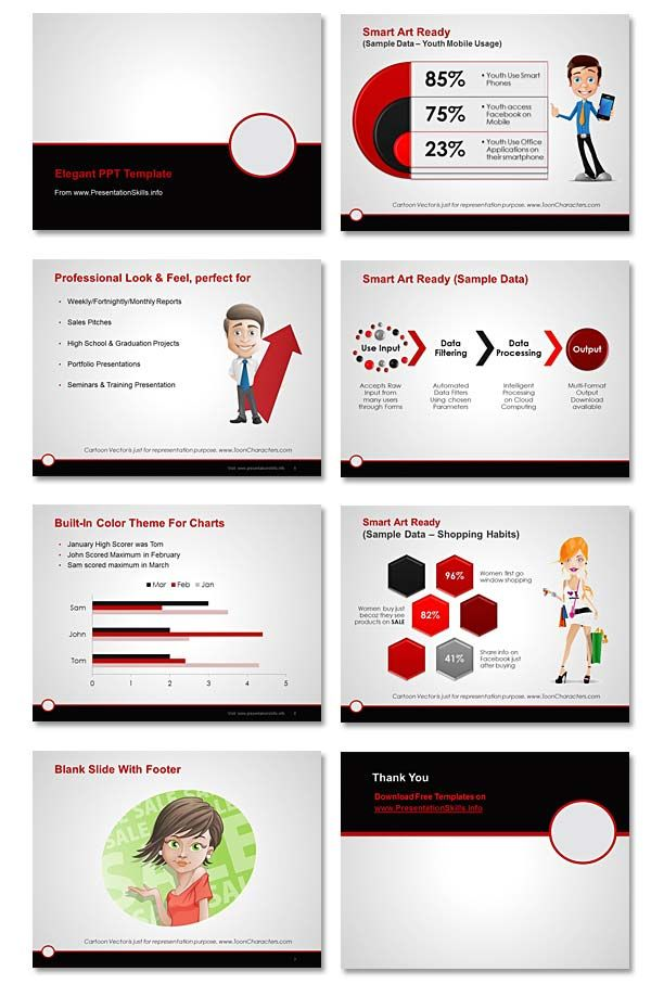 Free Professional Powerpoint Template Maroon  Gray  Black On
