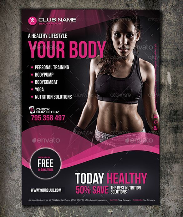 Club Fitness Flyer Template - Tap The Pin If You Love Super Heroes
