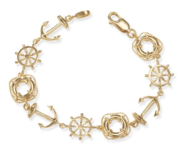 14k Gold Nautical Bracelet with Ships Wheel Anchor and Life