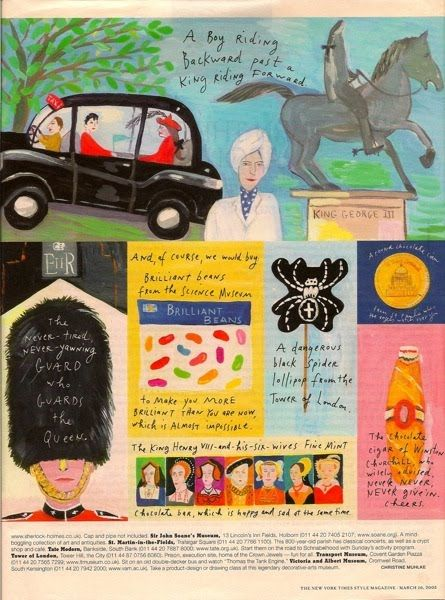 """The Terrier and Lobster: """"Little London"""" by Maira Kalman for New York Times Style Magazine"""