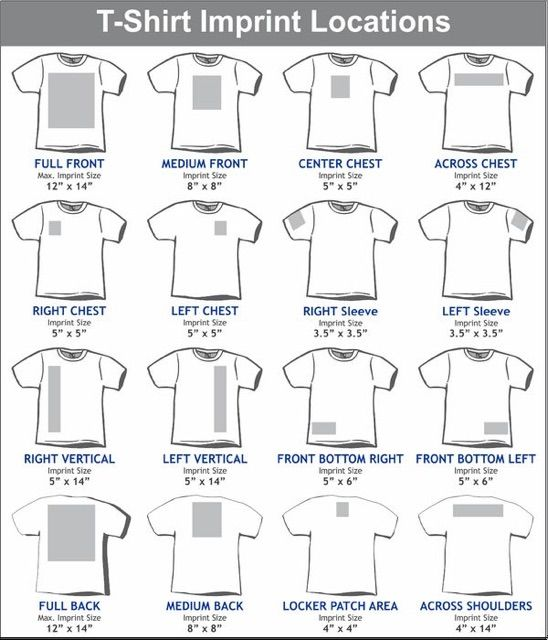 Standard T Shirt Dimension And Placement Chart: T-shirt Placement And Sizes