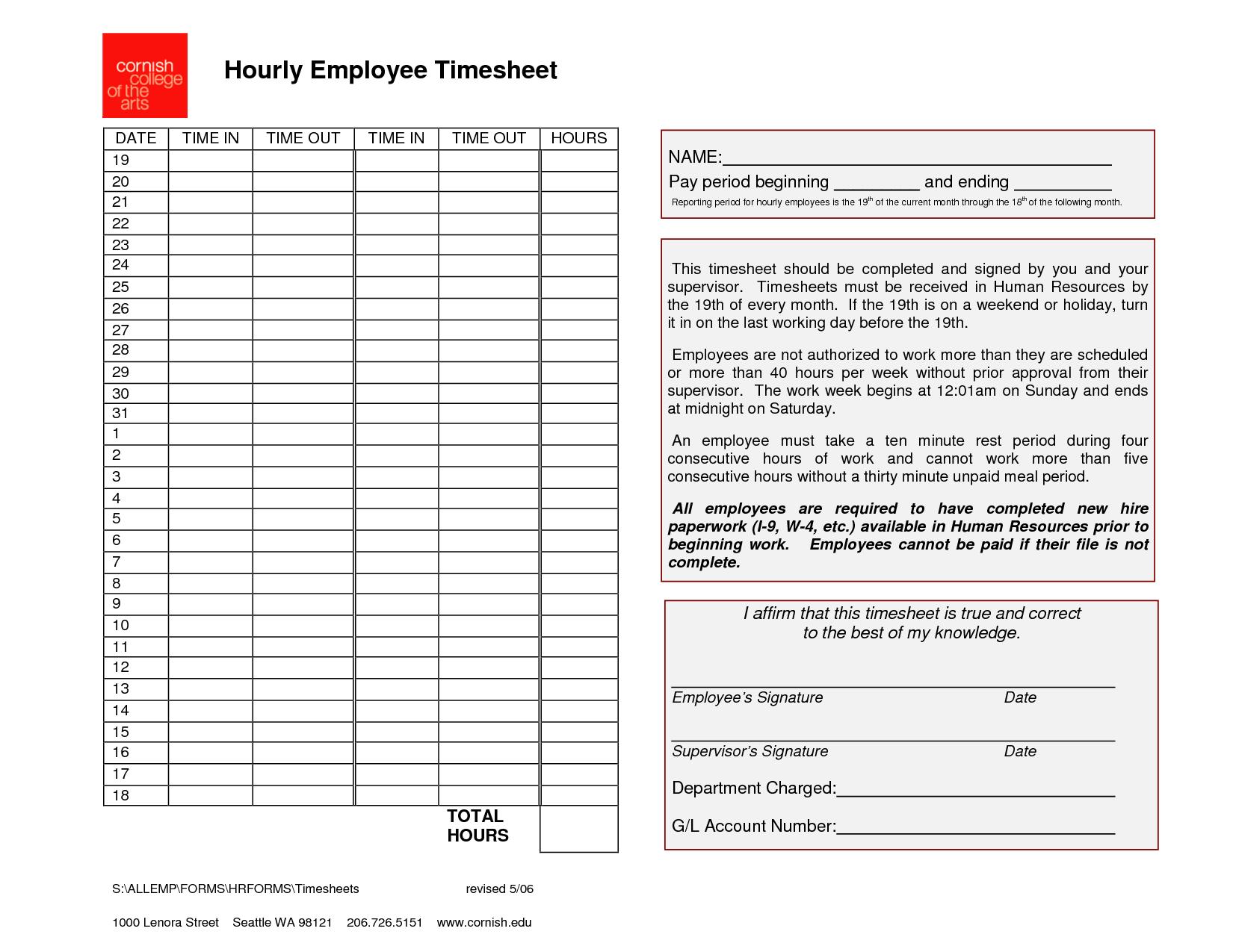 Employee Timesheet Template