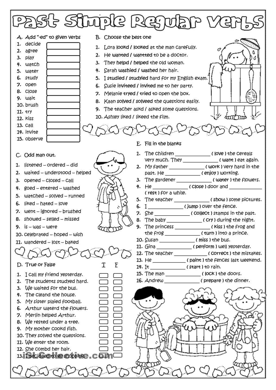 past simple regular verbs english teaching pinterest english worksheets and english grammar. Black Bedroom Furniture Sets. Home Design Ideas