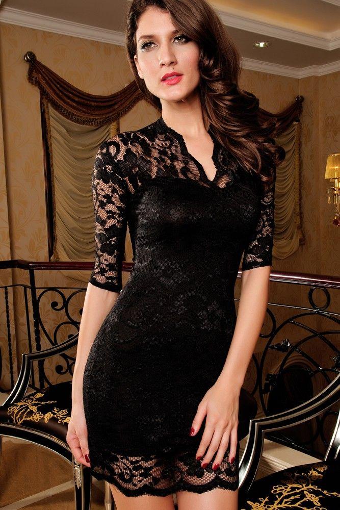 c20e9a8be Elegante vestido de encaje negro con forro negro
