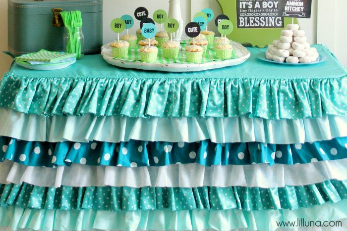 Ruffle Tablecloth, Adorable For Baby Shower!