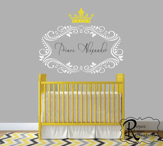 Nursery Name Decal -Personalized Name with Prince Princess Crown N16 ...