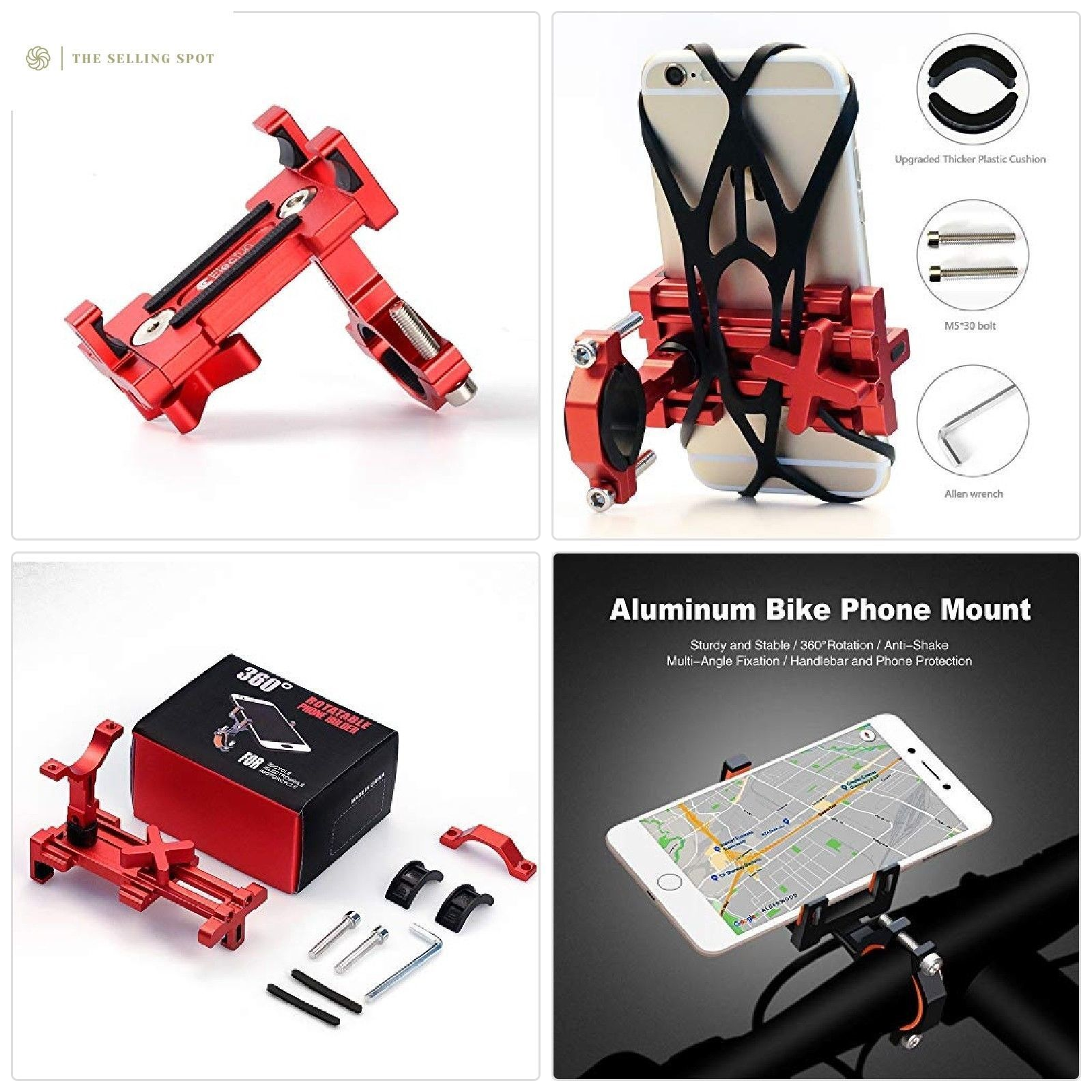 ELECFUN Bike Phone Mount, Universal Cell Phone Bicycle