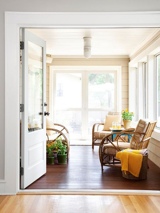 If your home is located somewhere with a chilly winter climate, adding a sunroom is the perfect way to enjoy the outdoors year-round. Sunrooms add versatility throughout the year since windows can be replaced with screens in warm months. This small sunroom makes the most of a tight space with airy furniture and a neutral color palette.