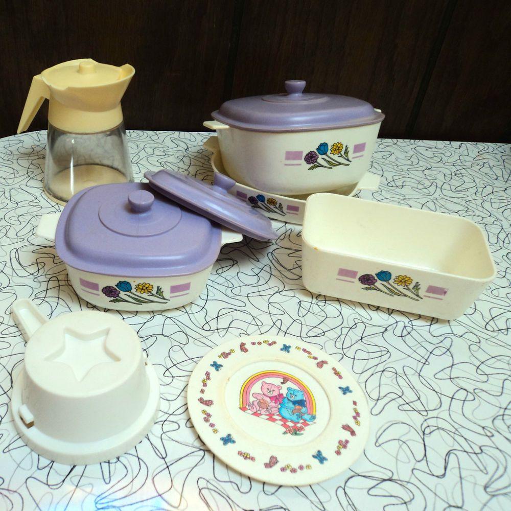 Retro Play Kitchen Set Vintage Lot Of Childrens Chilton Plastic Play Kitchen Dishes Set