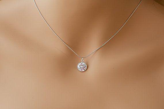 Single Diamond Necklace One Stone Necklace Diamond Pendant Etsy Single Diamond Necklace Diamond Necklace Simple Diamond Pendant