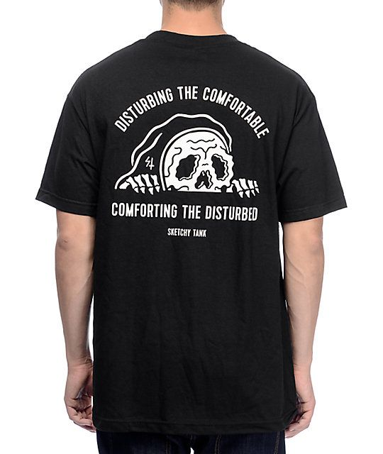 bfd6cddffee0 The Comfort black t-shirt gives you the perfect balance of comfort and  style. The black cotton tee features a white screen printed Sketchy Tank  logo on the ...