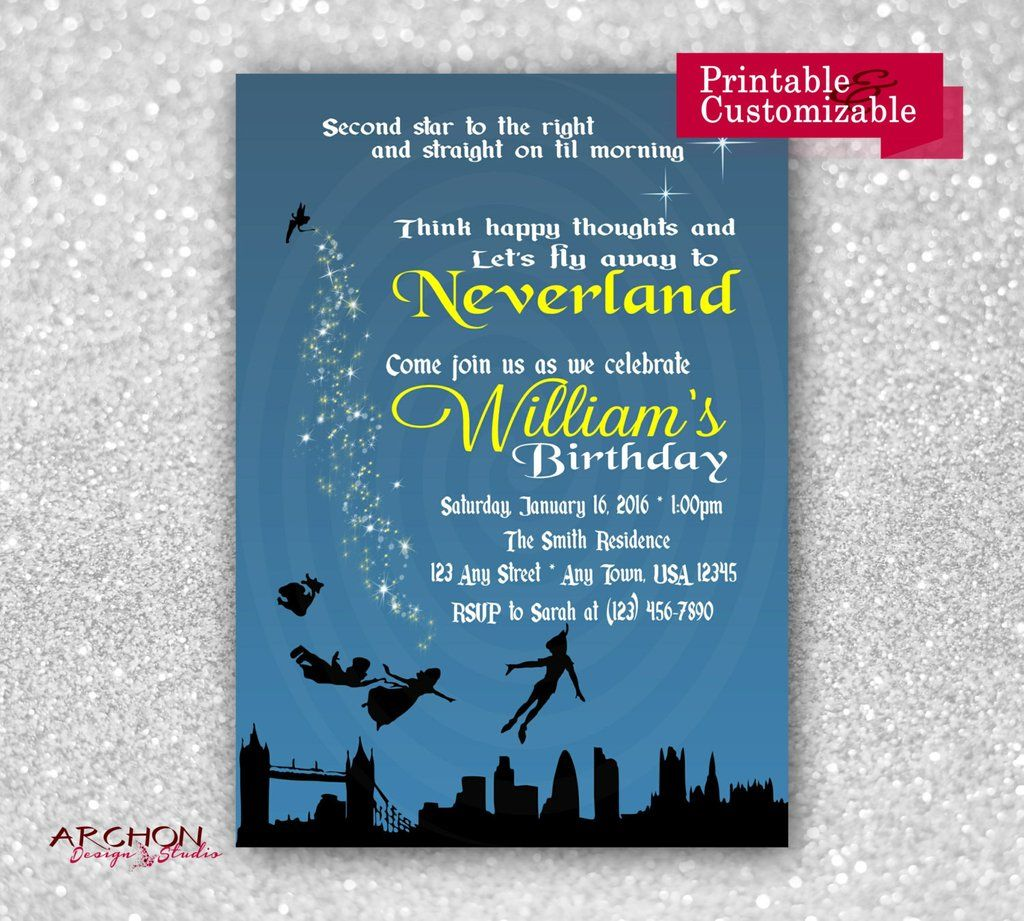 Peter Pan Birthday Party Invitation - Neverland, Fairy, Tinkerbell ...