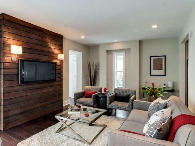 Wood wall decor for tv : Tv mounted on wood make a wall to lean behind the