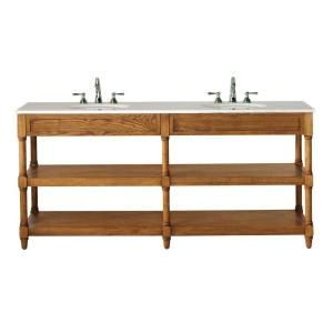 Home Decorators Collection Montaigne 73 In. Double Vanity In Weathered Oak  With Granite Vanity Top In Cream
