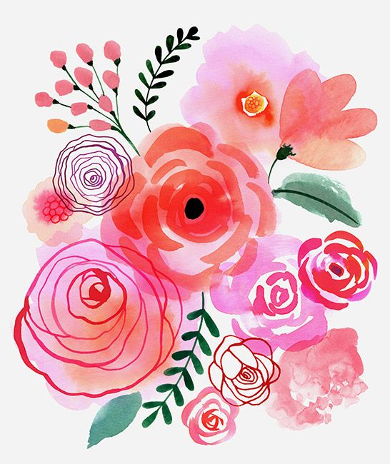 Margaret Berg Art Pink Blooms Flowers Watercolor Floral