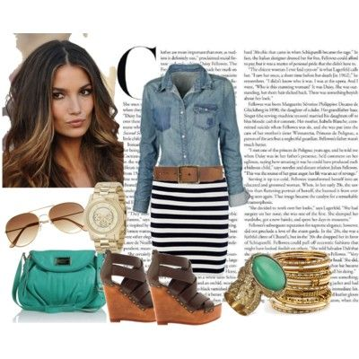 b623ca41af7c I'm on the hunt for a denim shirt and black and white striped skirt like  this. I love this whole outfit