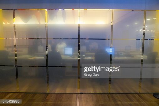 frosted glass office. Stock Photo : A Frosted Glass Wall Inside Modern Office Building.