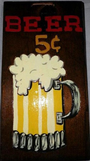 Beer Wood Plaque - 5 Cent Beer - Bar - Liquar - Sign - Money Sign ...