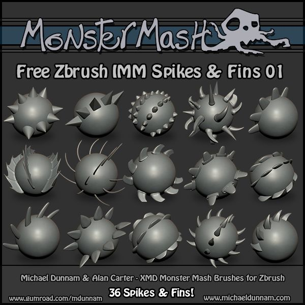 Free Monster Mash - ZBrush Brushes - Spikes & Fins 01