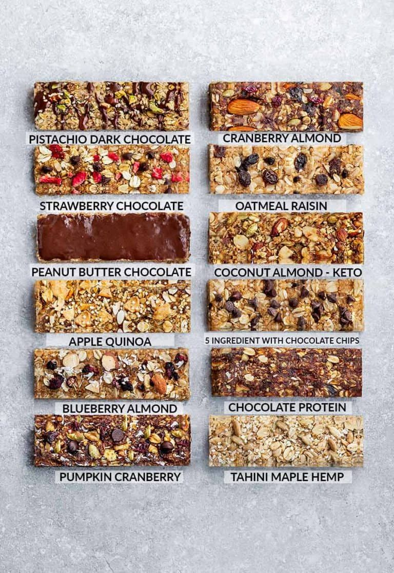 Homemade Granola Bars - 12 Ways - Switch up your snack lineup with these healthy on-the go snacks. Best of all, these protein bars are simple to customize and make ahead for school or work lunchboxes. Refined sugar free, gluten free, nut free and keto options. #homemadesweets