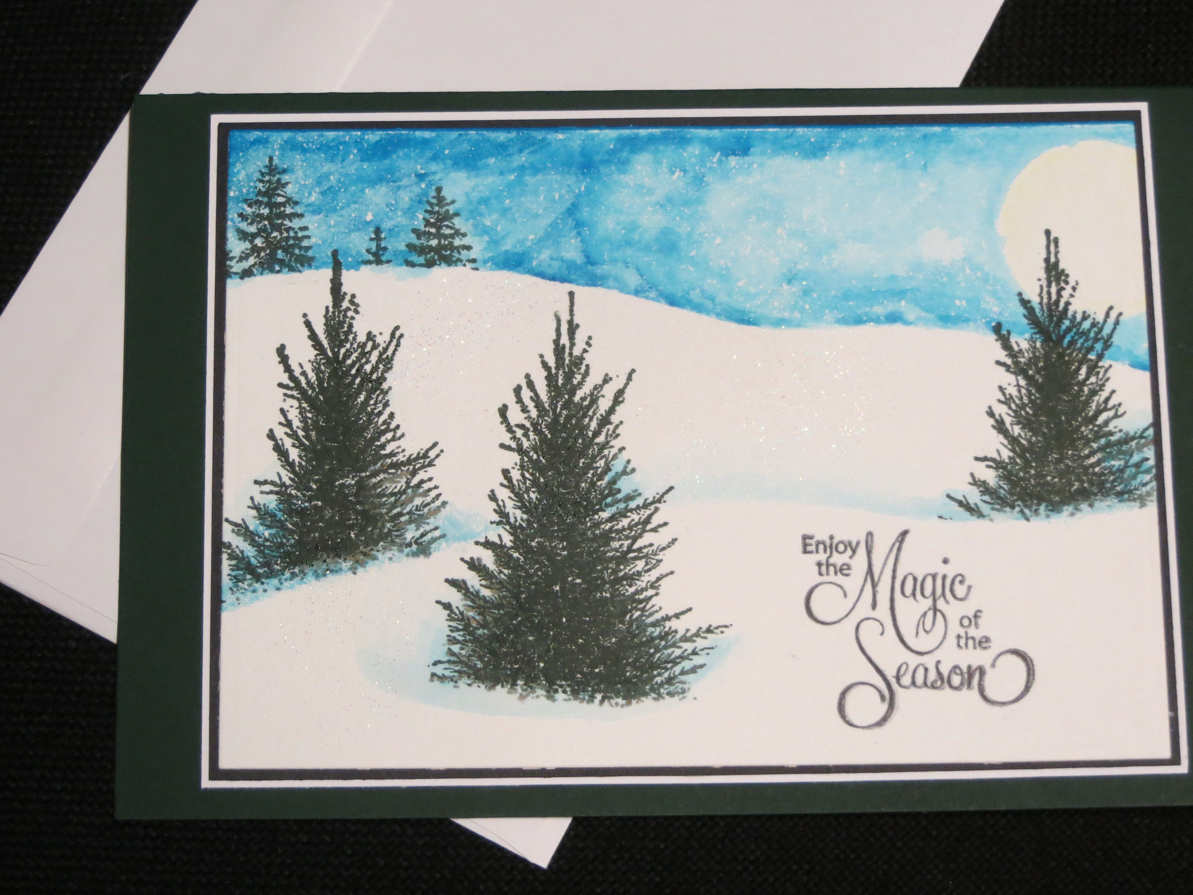 Fun with snow scenes using stamps, ink pads, and sponges.   Cards I ...