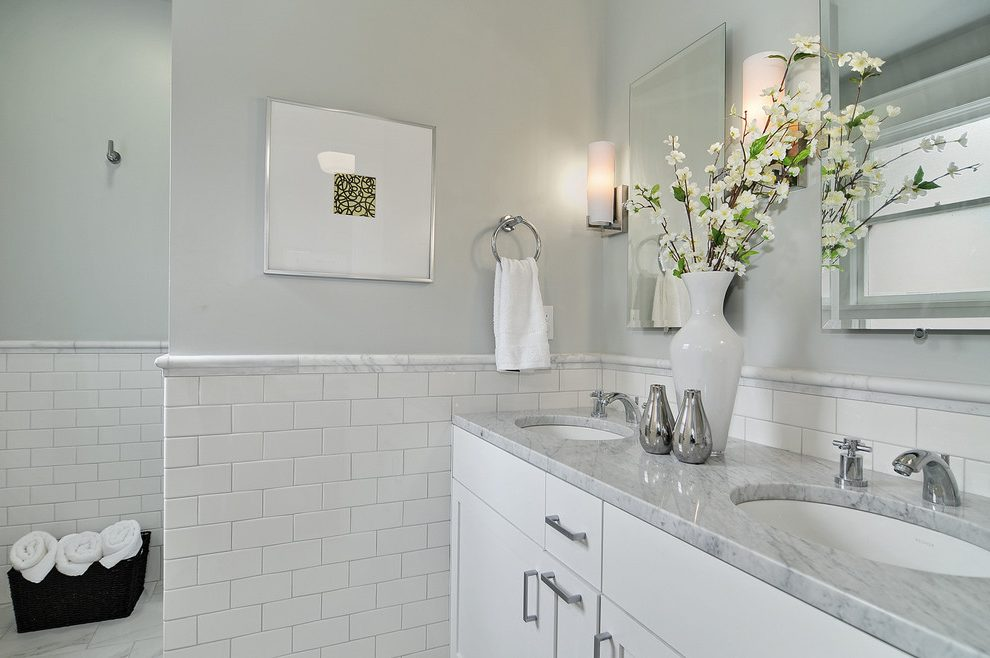 Seattle Marble Chair Rail Bathroom Contemporary With Craftsman Gray Soap Dishes And Holders Subway Tile Pranaycoffee Contemporary Bathrooms Chair Rail Bathroom