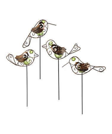 Look what I found on #zulily! Glow-in-the-Dark Bird Garden Stake Set #zulilyfinds