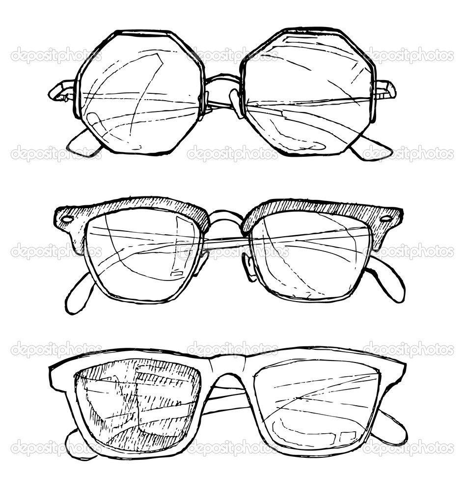 Hand gezeichneten Vektor Sonnenbrillen. Linie Kunst — Stockvektor ...