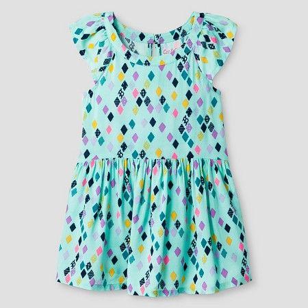 Target Baby Girl Clothes Custom Baby Girls' A Line Diamond Print Dress Turquoise  Cat & Jack Inspiration Design