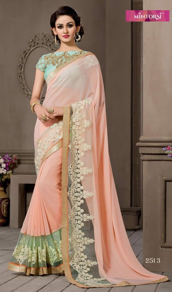 0365495372c681 Light Peach Colour Pure Georgette With Border Work Party Wear Saree ...