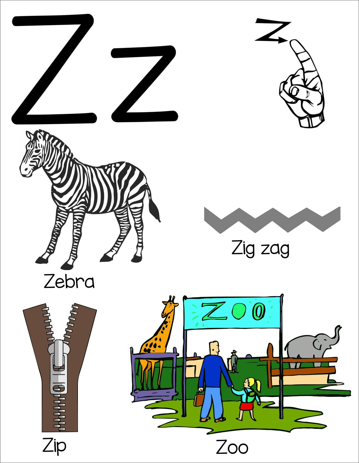 Letter Z Flashcard With Asl